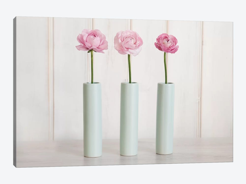 Row Of 3 Pink Flowers In Blue Vases by Tom Quartermaine 1-piece Canvas Wall Art