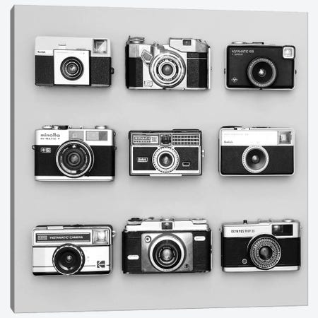 Set Of 9 Antique Cameras Canvas Print #TQU291} by Tom Quartermaine Canvas Wall Art