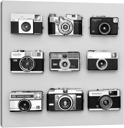 Set Of 9 Antique Cameras Canvas Art Print