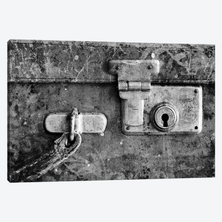 Antique Suitcase Details B&W Canvas Print #TQU29} by Tom Quartermaine Canvas Wall Art