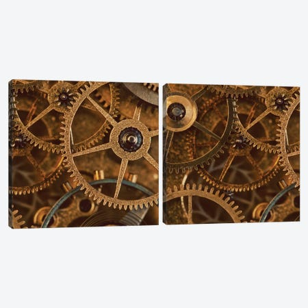 Copper Cogs Close-Up Diptych Canvas Print Set #TQU2HSET002} by Tom Quartermaine Canvas Wall Art