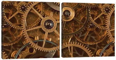 Copper Cogs Close-Up Diptych Canvas Art Print