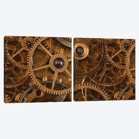 Copper Cogs Close-Up Diptych Canvas Print Set #TQU2HSET002} by Tom Quartermaine Canvas Wall Art