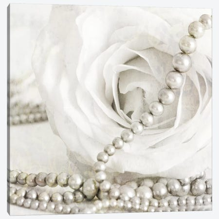 White Rose With Pearls Canvas Print #TQU309} by Tom Quartermaine Canvas Wall Art