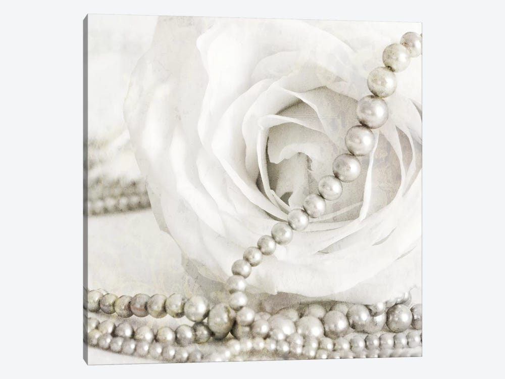 White Rose With Pearls by Tom Quartermaine 1-piece Canvas Art Print
