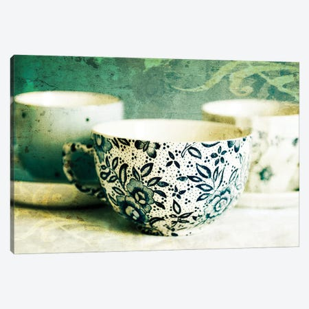 Antique Teacups And Saucers II 3-Piece Canvas #TQU30} by Tom Quartermaine Art Print