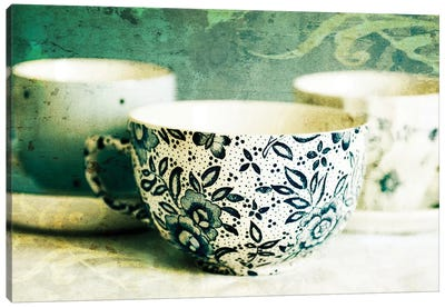 Antique Teacups And Saucers II Canvas Art Print