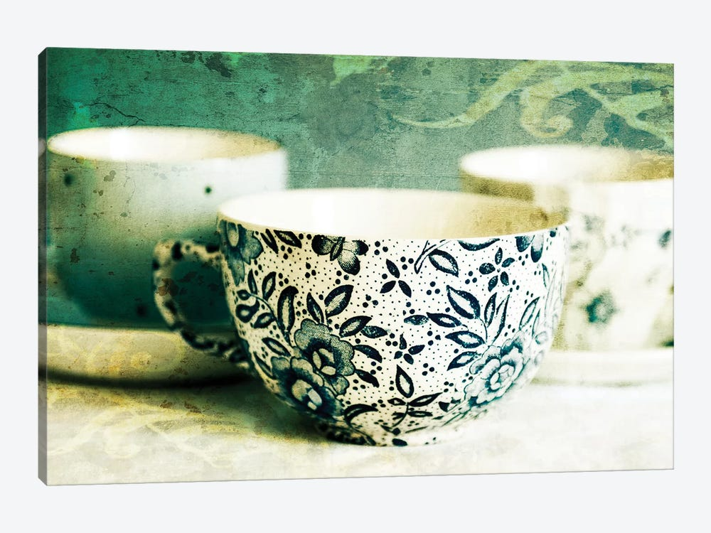 Antique Teacups And Saucers II by Tom Quartermaine 1-piece Canvas Art