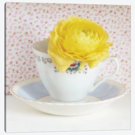 Yellow Flower In Cup And Saucer 3-Piece Canvas #TQU311} by Tom Quartermaine Art Print