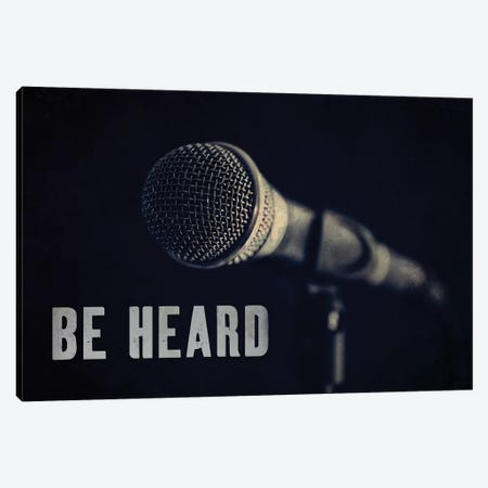 Be Heard Typography Microphone Canvas Print #TQU313} by Tom Quartermaine Canvas Art Print