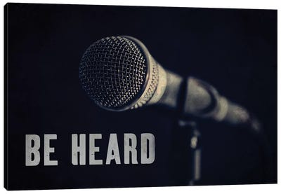 Be Heard Typography Microphone Canvas Art Print