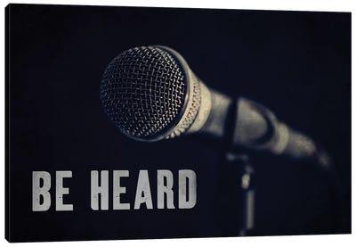 Be Heard Typography Microphone Canvas Art Print