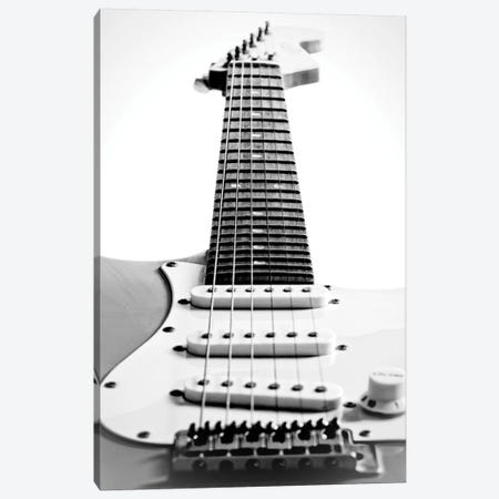 Black and White Guitar Side 3-Piece Canvas #TQU316} by Tom Quartermaine Canvas Art
