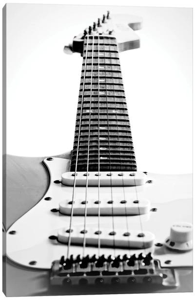 Black and White Guitar Side Canvas Art Print