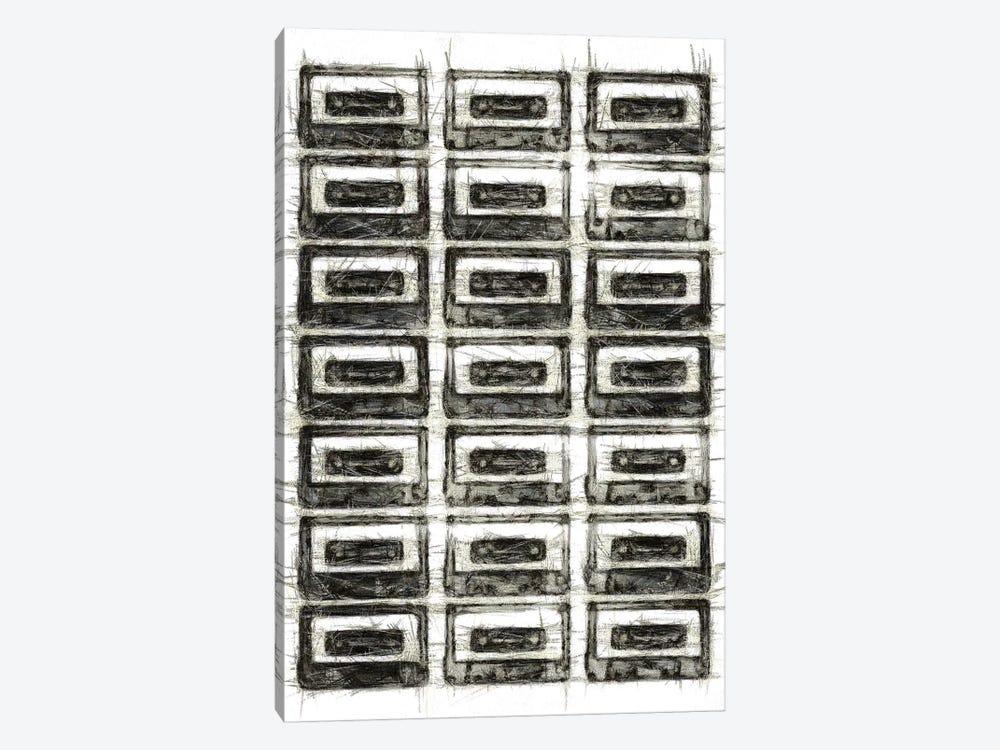 Retro Black and White Cassettes by Tom Quartermaine 1-piece Canvas Artwork