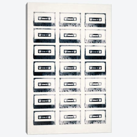 Retro Black and White Cassettes Light Canvas Print #TQU325} by Tom Quartermaine Canvas Art Print