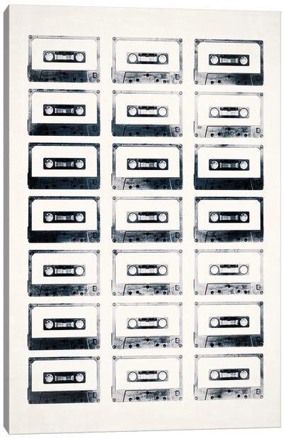 Retro Black and White Cassettes Light Canvas Art Print