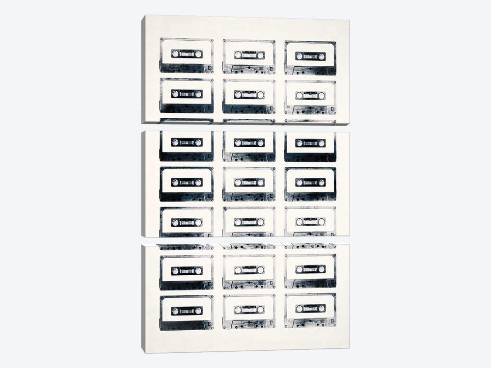 Retro Black and White Cassettes Light by Tom Quartermaine 3-piece Art Print