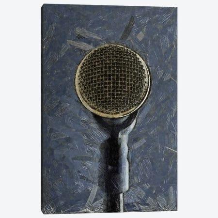 Retro Microphone I Canvas Print #TQU327} by Tom Quartermaine Canvas Print