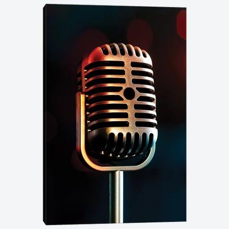 Retro Microphone III Canvas Print #TQU329} by Tom Quartermaine Canvas Art