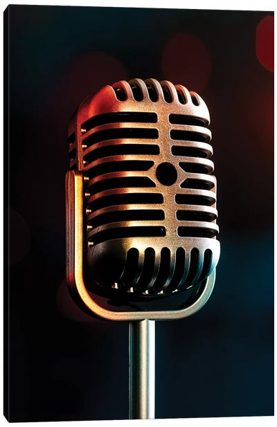 Retro Microphone III Canvas Art Print