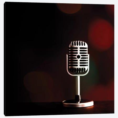 Retro Microphone IV Canvas Print #TQU330} by Tom Quartermaine Canvas Art Print