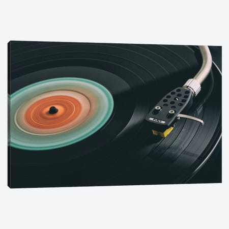 Spinning Record Retro Canvas Print #TQU334} by Tom Quartermaine Canvas Artwork