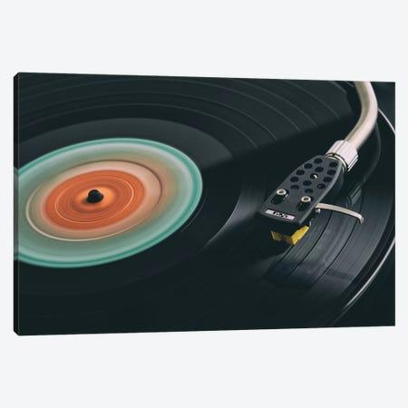 Spinning Record Retro Canvas Print #TQU334} by Tom Quartermaine Canvas Artwork