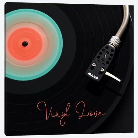 Spinning Record Vinyl Love Canvas Print #TQU335} by Tom Quartermaine Canvas Art