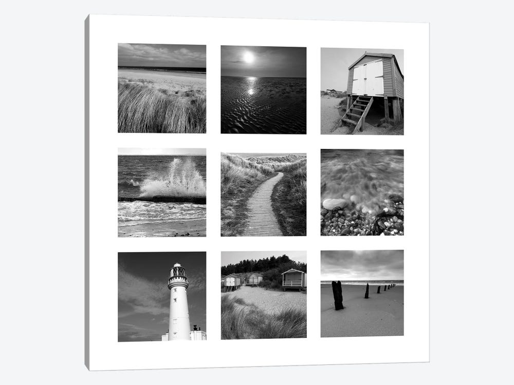Beach B&W Set Of 9 1-piece Canvas Art Print