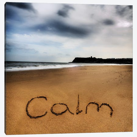 Beach Writing Calm Canvas Print #TQU52} by Tom Quartermaine Canvas Art Print