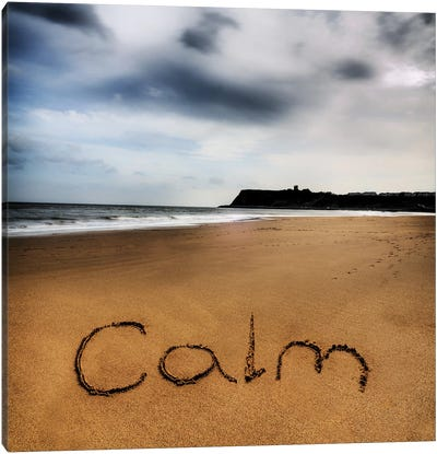 Beach Writing Calm Canvas Art Print