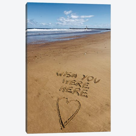 Beach Writing Wish Canvas Print #TQU54} by Tom Quartermaine Canvas Artwork