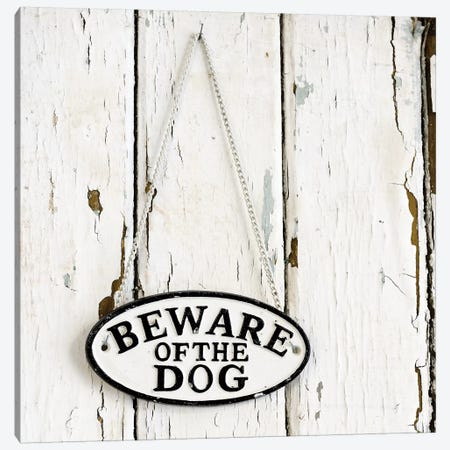 Beware Of The Dog Sign On Antique Door Canvas Print #TQU55} by Tom Quartermaine Canvas Wall Art