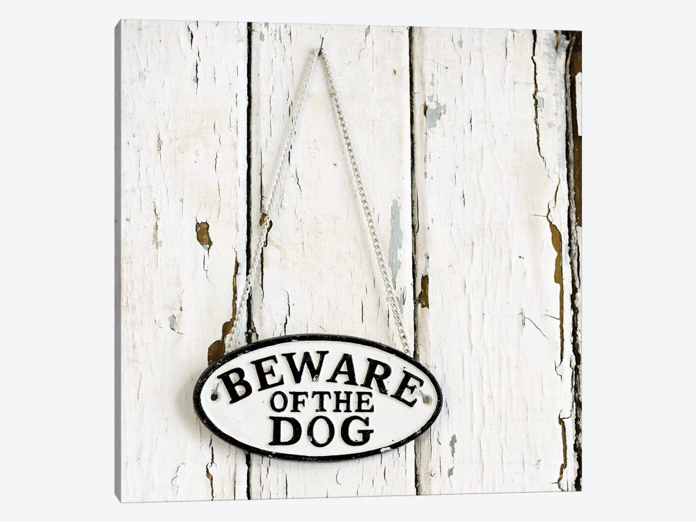 Beware Of The Dog Sign On Antique Door 1-piece Art Print