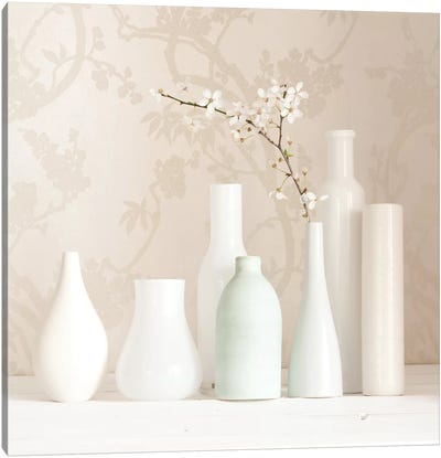 Blossom And White Vases Still Life Canvas Art Print