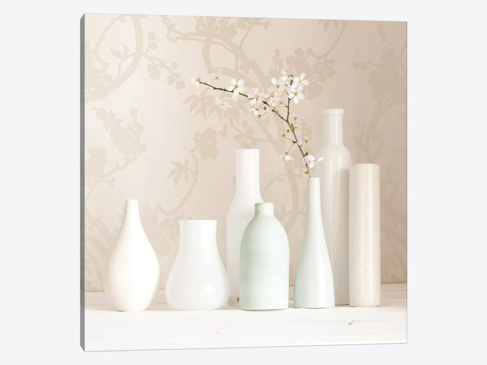 Blossom And White Vases Still Life by Tom Quartermaine 1-piece Canvas Art Print