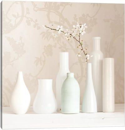 Blossom And White Vases Still Life Canvas Art Print