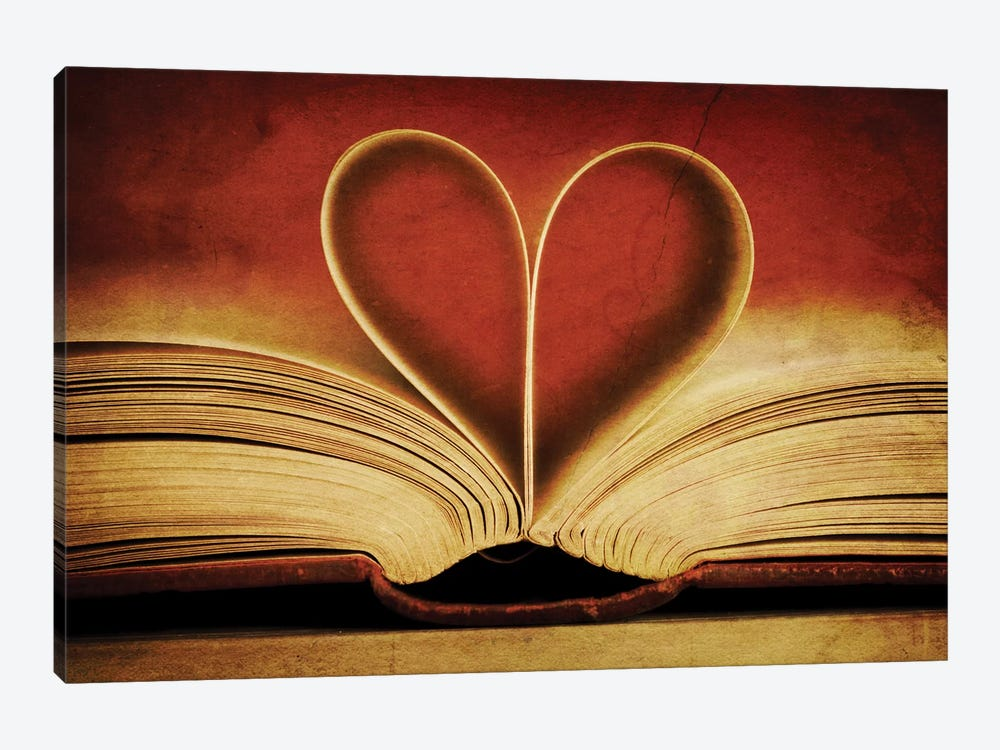Book Pages In Heart Shape 1-piece Canvas Artwork