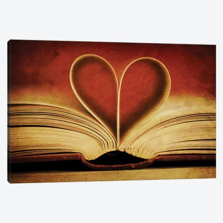 Book Pages In Heart Shape Canvas Print #TQU65} by Tom Quartermaine Canvas Print