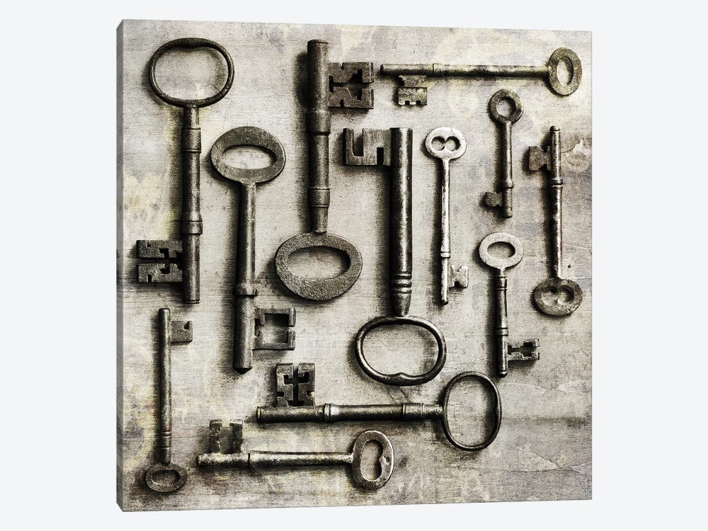 Collection Of Antique Keys In A Square by Tom Quartermaine 1-piece Art Print