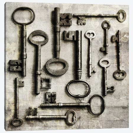 Collection Of Antique Keys In A Square Canvas Print #TQU79} by Tom Quartermaine Canvas Print