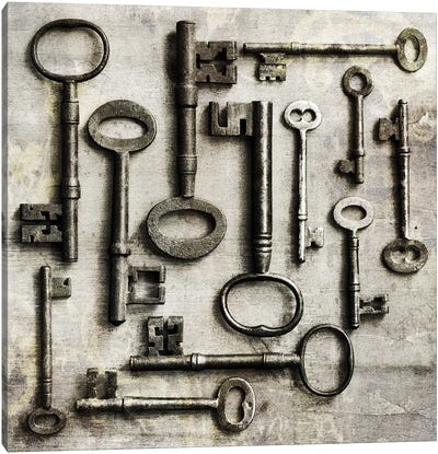 Collection Of Antique Keys In A Square Canvas Art Print