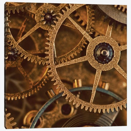 Copper Cogs Close-Up I Canvas Print #TQU85} by Tom Quartermaine Canvas Print