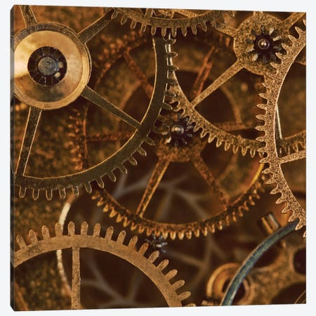Copper Cogs Close-Up II Canvas Print #TQU86} by Tom Quartermaine Canvas Print