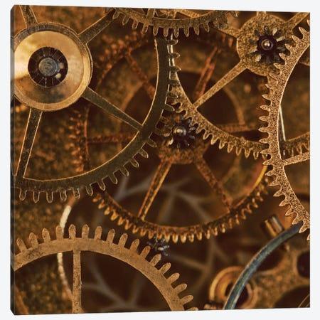Copper Cogs Close-Up II 3-Piece Canvas #TQU86} by Tom Quartermaine Canvas Print