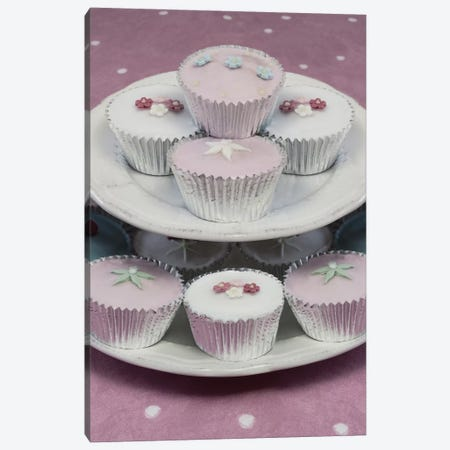 Fairy Cakes On Cake Stand 3-Piece Canvas #TQU93} by Tom Quartermaine Canvas Art Print
