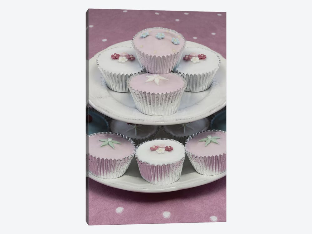 Fairy Cakes On Cake Stand by Tom Quartermaine 1-piece Canvas Print