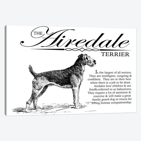 Vintage Airedale Terrier Storybook Style Canvas Print #TRA119} by Traci Anderson Canvas Print