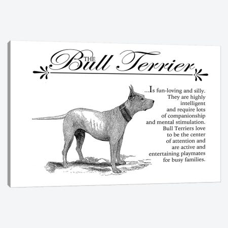Vintage Bull Terrier Storybook Style Canvas Print #TRA122} by Traci Anderson Canvas Artwork